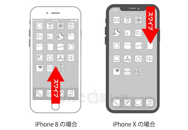 9af5760e60 コントロールセンターというのは、iPhone X以外のiPhoneやiPadの場合は画面の外側から内側に向かって下から上にスワイプした時に表示される画面 です。